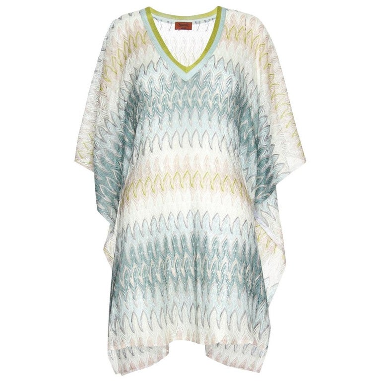 Stunning Missoni Signature Chevron Crochet Knit Kaftan Tunic Cover Up Dress For Sale