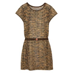 Stunning Missoni Signature Chevron Metallic Crochet Knit Mini Dress with Belt