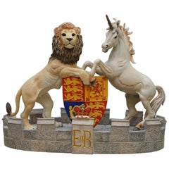 Stunning Model of Queen Elizabeth II's Heraldic Crest Lion Unicorn Rare Statue