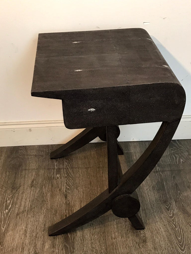 Stunning Modern Black and White Shagreen Cantilever End Table by R&Y Augousti For Sale 5
