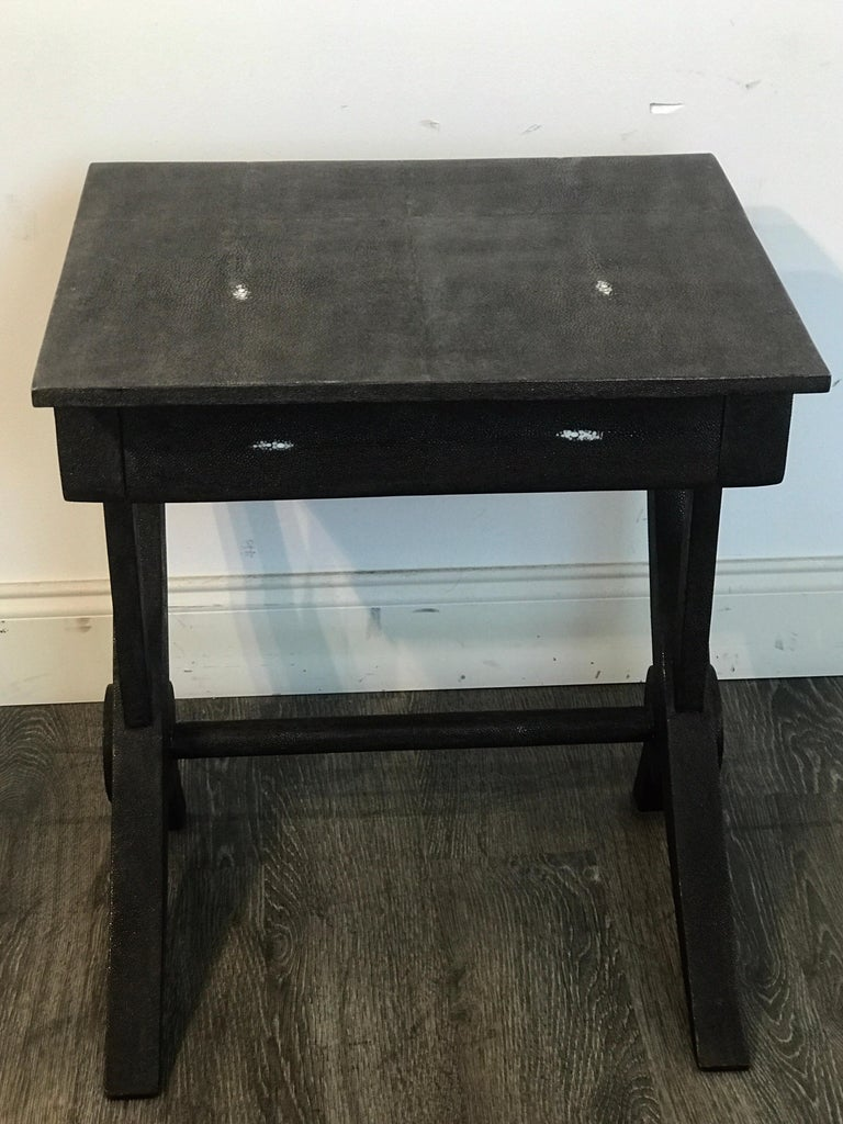 Stunning Modern Black and White Shagreen Cantilever End Table by R&Y Augousti For Sale 6