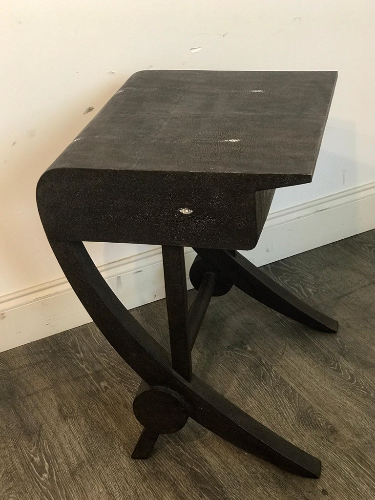 Stunning Modern Black and White Shagreen Cantilever End Table by R&Y Augousti For Sale 7