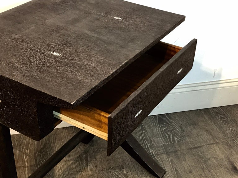 French Stunning Modern Black and White Shagreen Cantilever End Table by R&Y Augousti For Sale