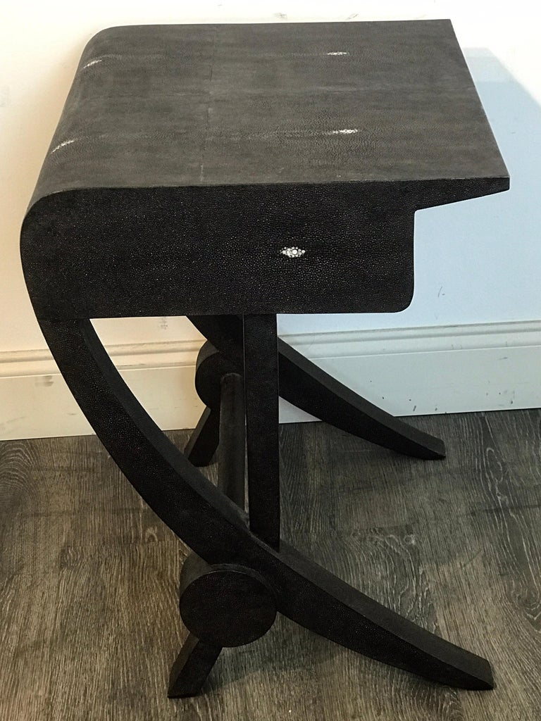 Stunning Modern Black and White Shagreen Cantilever End Table by R&Y Augousti For Sale 3
