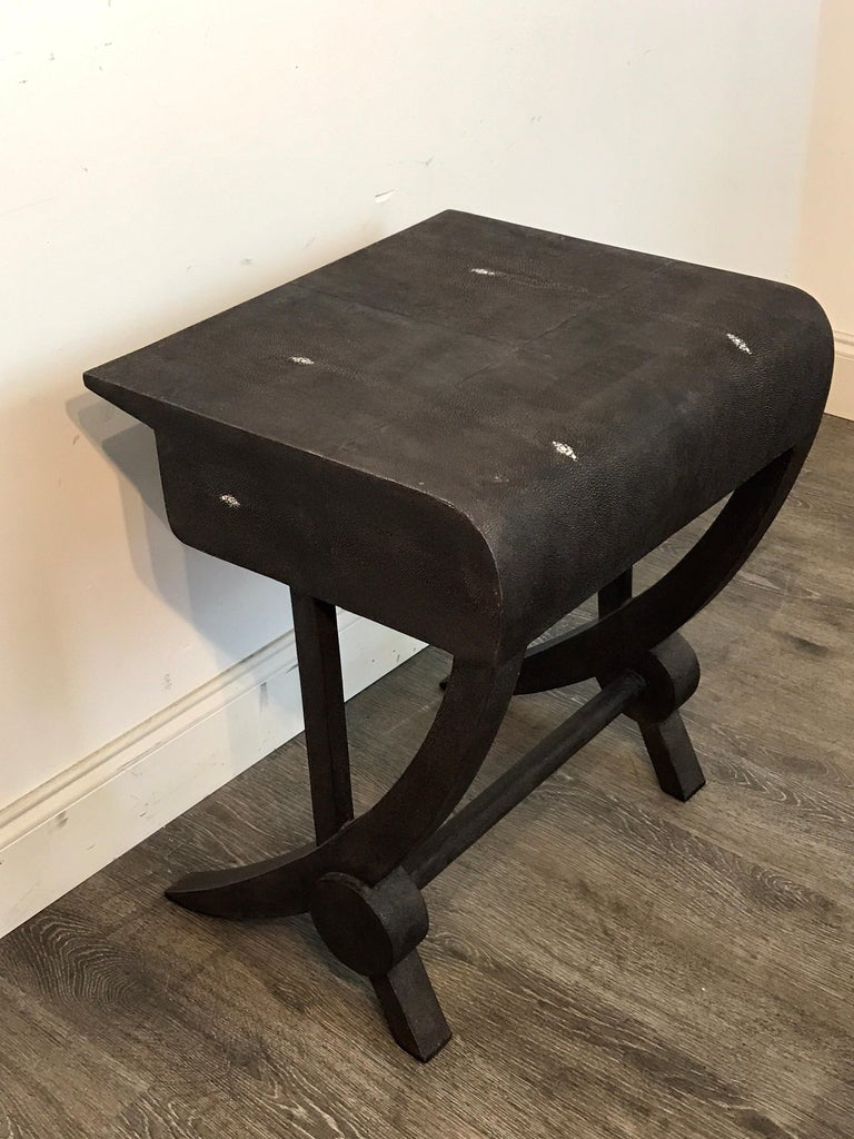 Stunning Modern Black and White Shagreen Cantilever End Table by R&Y Augousti For Sale 4