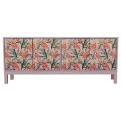 Stunning Modern Custom Sideboard / Cabinet with a Pink Tropical Flamingos