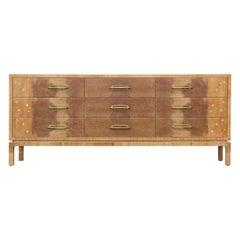 Stunning Modern Romweber Star Inlay Nine Drawer Burl Dresser / Sideboard
