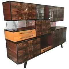 Stunning Modernist Exotic Burl Wood Cabinet/Bar Attributed to Osvaldo Borsani