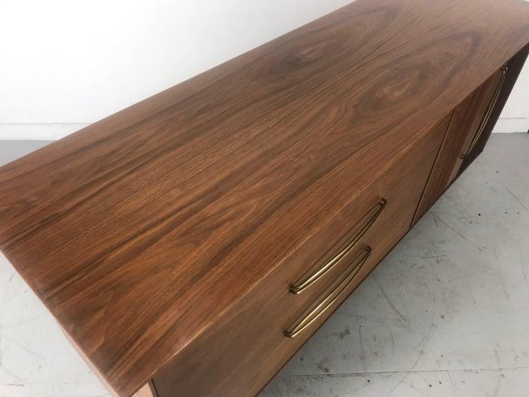 Stunning Modernist Walnut and Brass Dresser by Helen Hobey Baker For Sale 7