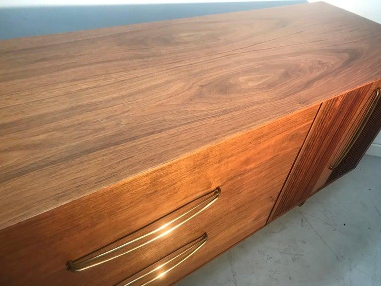 Stunning Modernist Walnut and Brass Dresser by Helen Hobey Baker For Sale 8