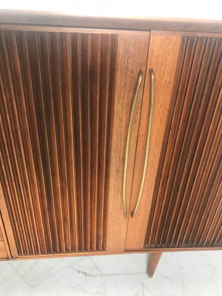 Mid-Century Modern Stunning Modernist Walnut and Brass Dresser by Helen Hobey Baker For Sale