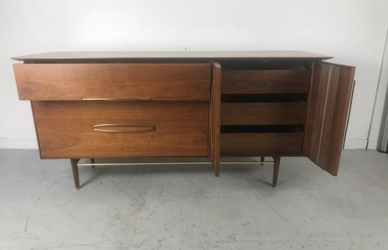 American Stunning Modernist Walnut and Brass Dresser by Helen Hobey Baker For Sale