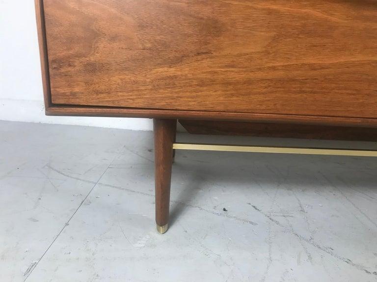 Stunning Modernist Walnut and Brass Dresser by Helen Hobey Baker For Sale 3
