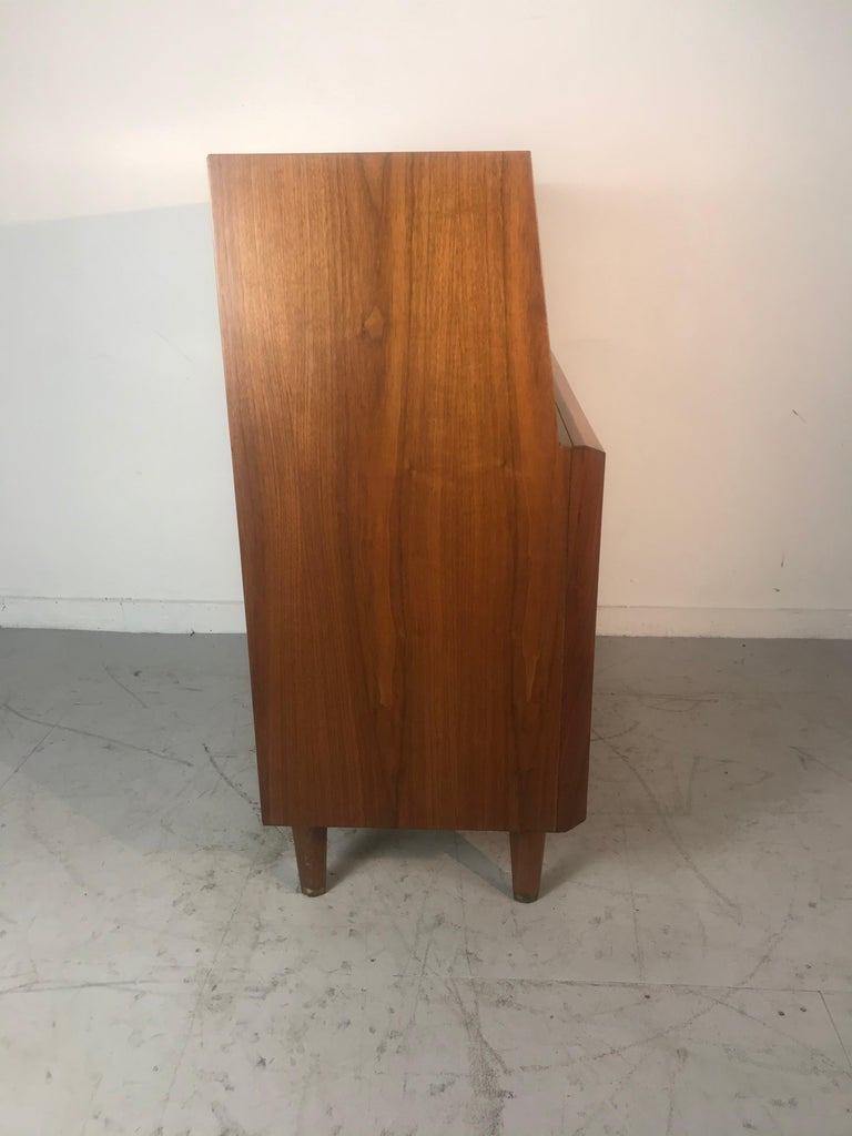 Stunning Modernist Walnut and Brass Dresser/Desk by Helen Hobey Baker In Good Condition For Sale In Buffalo, NY