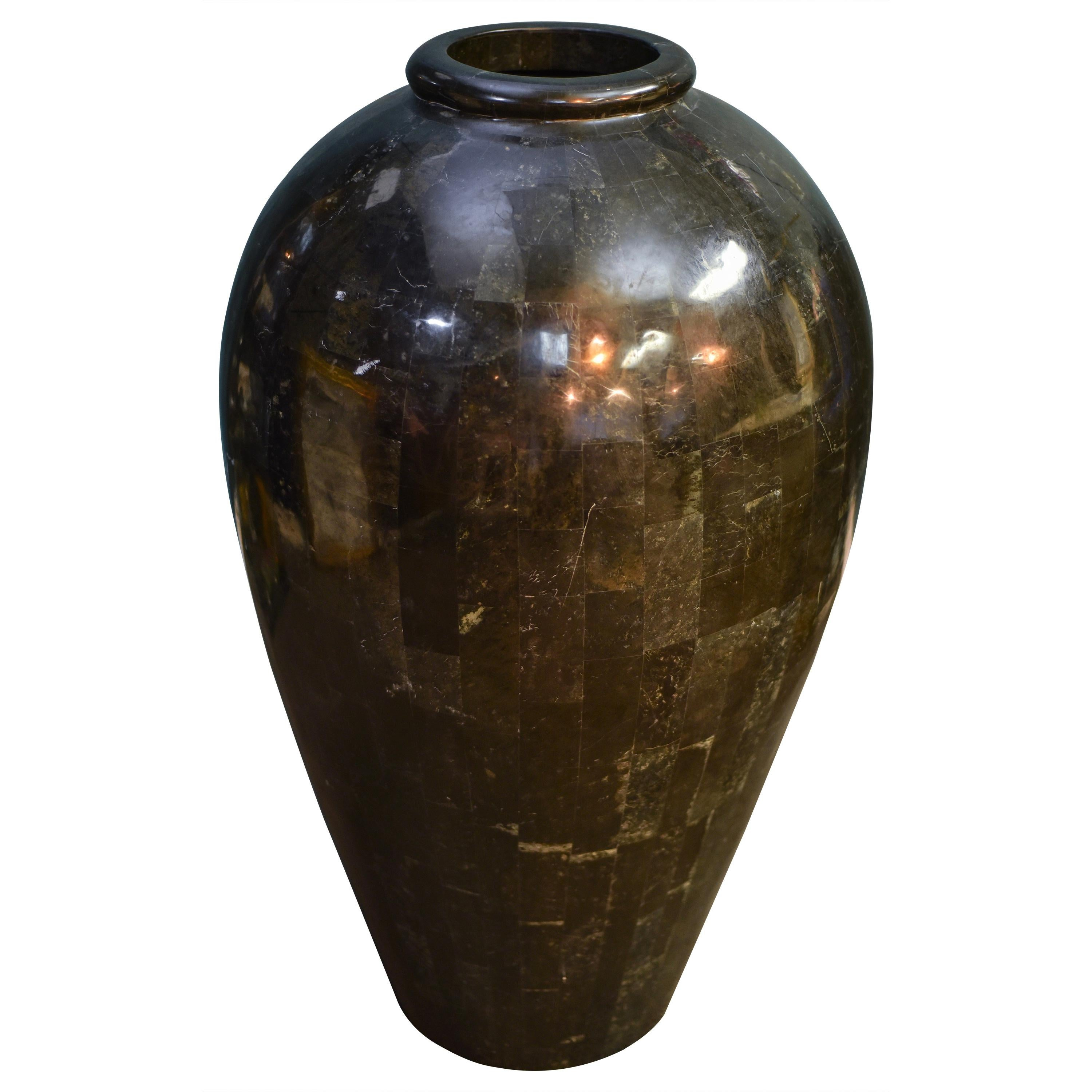 Stunning Monumental Tessellated Stone Vase by Maitland Smith, 1980s