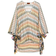 Stunning Multicolor Missoni Silver Metallic Crochet Knit Kaftan Tunic Dress