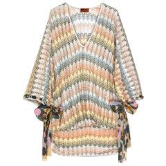 Stunning Multicolor Missoni Silver Metallic Crochet Knit Kaftan Tunic Mini Dress