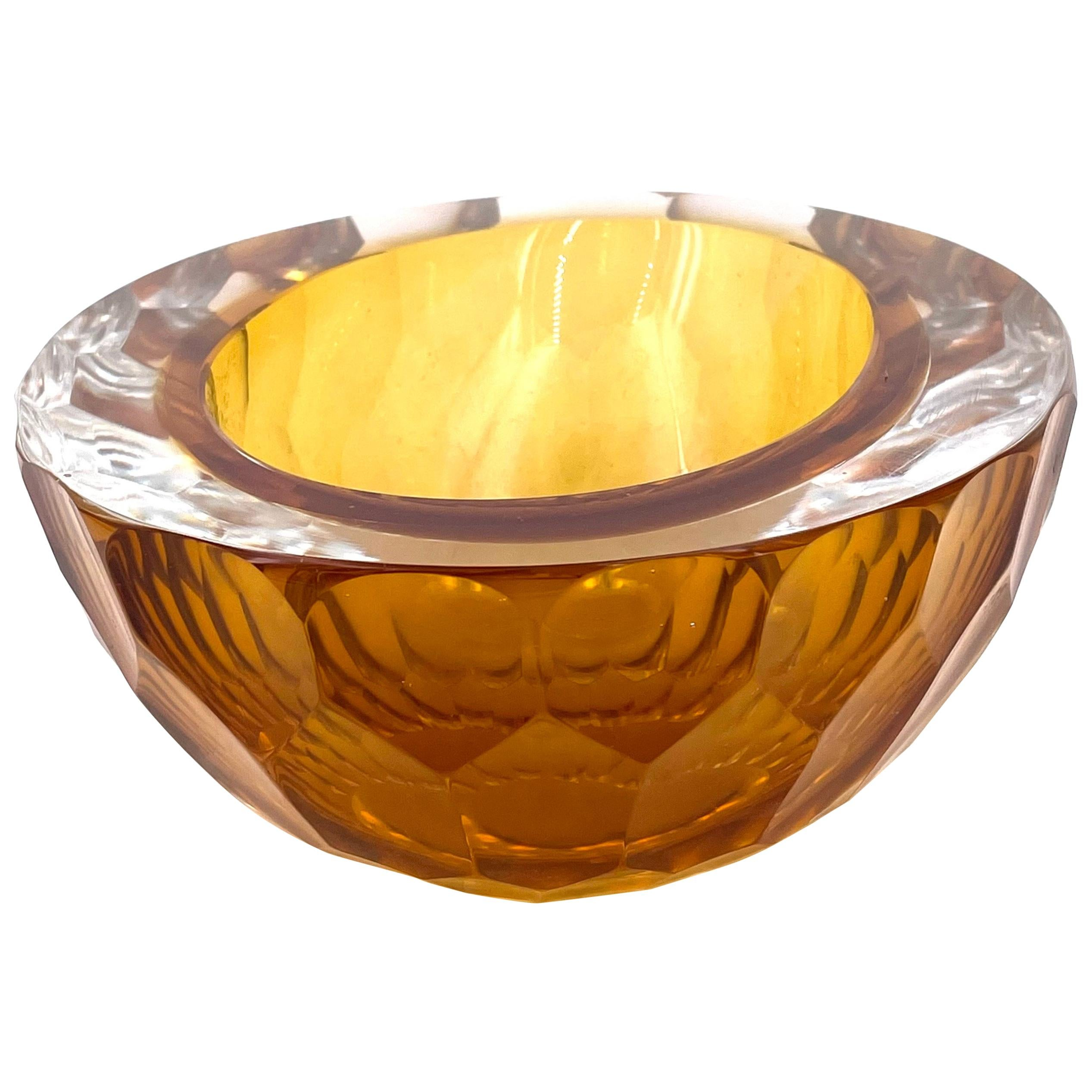 Stunning Murano Glass Bowl Sommerso Faceted