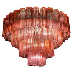 Stunning Murano Glass Fuchsia Red Tronchi Chandelier