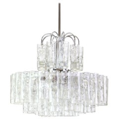 Stunning Murano Ice Glass Tubes Chandelier by Doria, Germany, 1960s