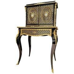 Stunning Napoleonon III Wedgewood Boulle Marquetry Secretary Cabinet France
