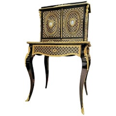 Stunning Napoleon III Wedgewood Boulle Marquetry Secretary Cabinet, France