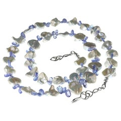 Stunning Necklace of White Keshi Pearls and Sparkling Tanzanite