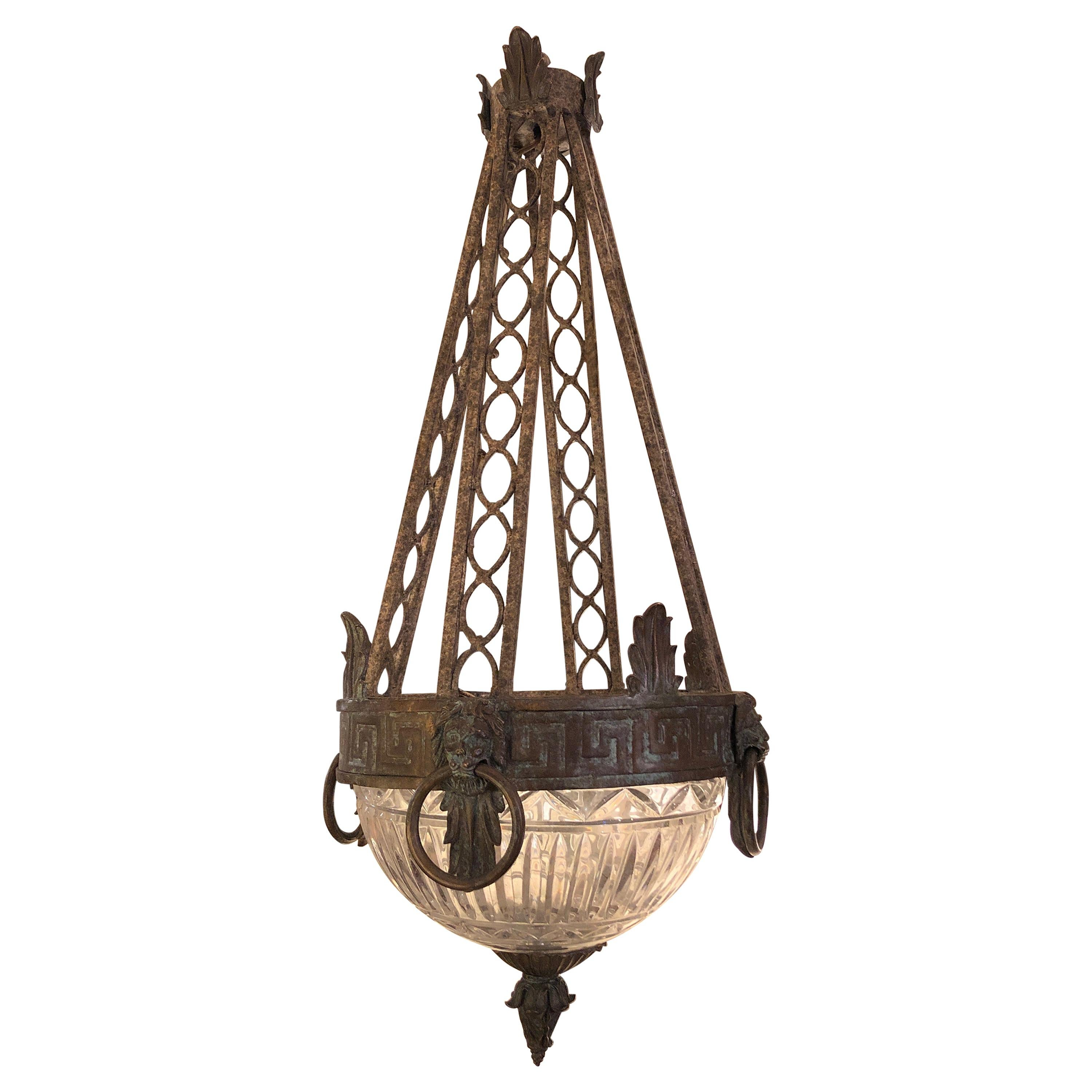 Stunning Neoclassical Iron and Cut Glass Chandelier Pendant