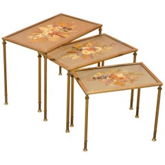 Stunning Nest of Three French circa 1920 Bronze Pressed Flowers Tables Regency 3