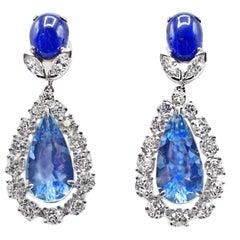 Stunning No Heat Burma Sapphire Aquamarine Diamond Platinum Ear Pendants