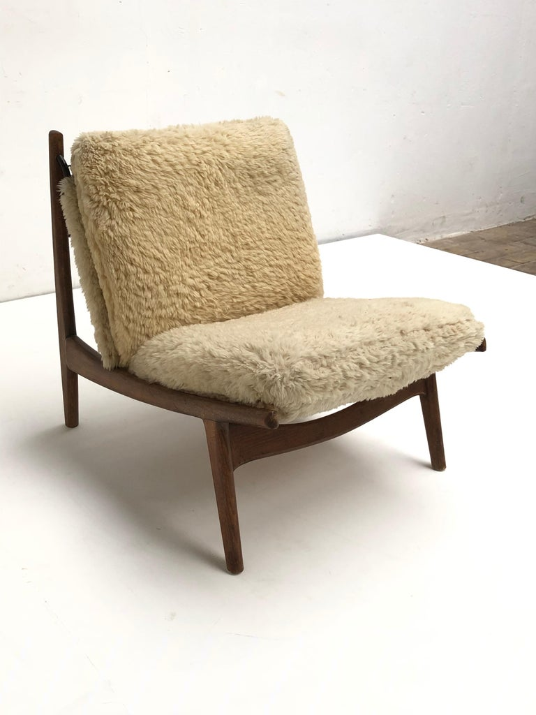 Mid-20th Century Stunning Organic Form '790' Lounge Chair by J.A Motte for Steiner, France, 1960 For Sale