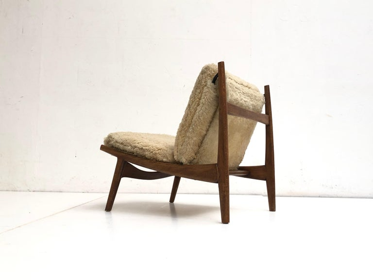 Sheepskin Stunning Organic Form '790' Lounge Chair by J.A Motte for Steiner, France, 1960 For Sale