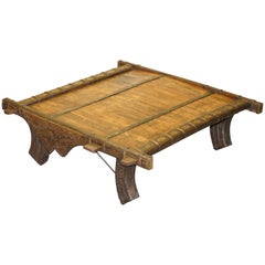 Stunning Original Antique Tibetan Reclaimed Wood and Metal Bound Coffee Table