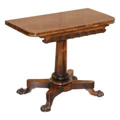 Stunning Original J Kendell & Co circa 1830 Redwood Tea Card Table Sublime