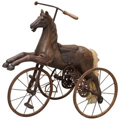 Stunning Original Paint and Leather Saddle Victorian Horse Tricycle Decorative