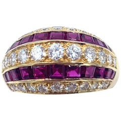 Stunning Oscar Heyman Ruby and Diamond 18 Karat Yellow Gold Dome Ring
