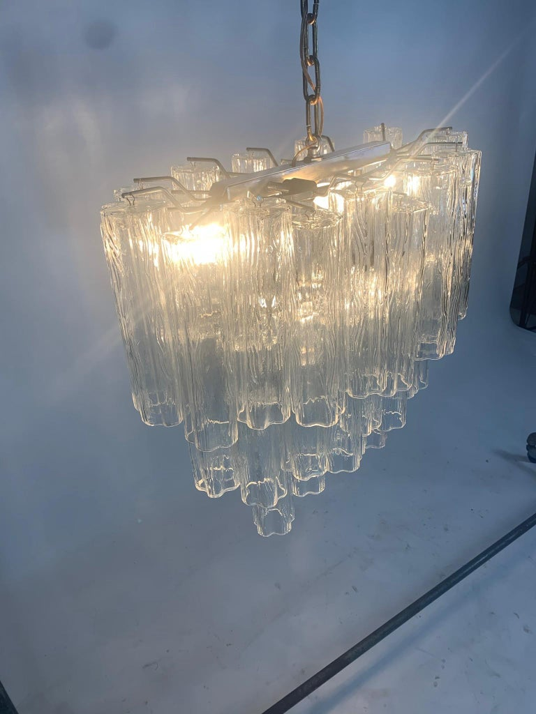 Stunning Oval Italian Venini Murano Glass Tubes Chandelier Light Fixture For Sale 4