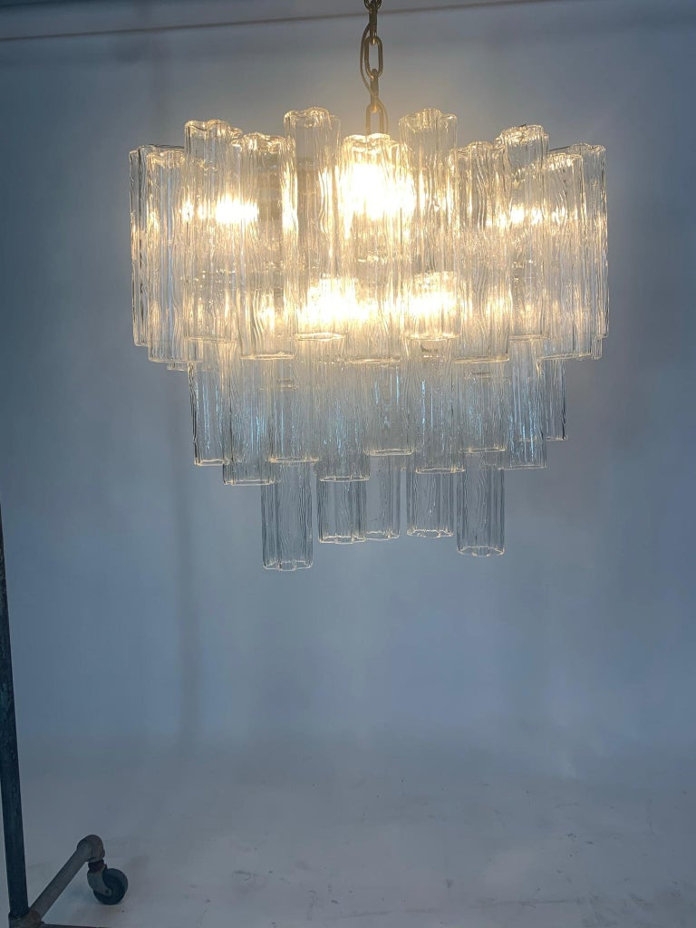 Stunning Oval Italian Venini Murano Glass Tubes Chandelier Light Fixture For Sale 5