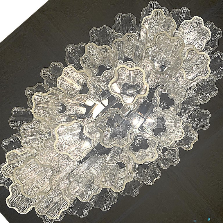 Stunning Oval Italian Venini Murano Glass Tubes Chandelier Light Fixture For Sale 6