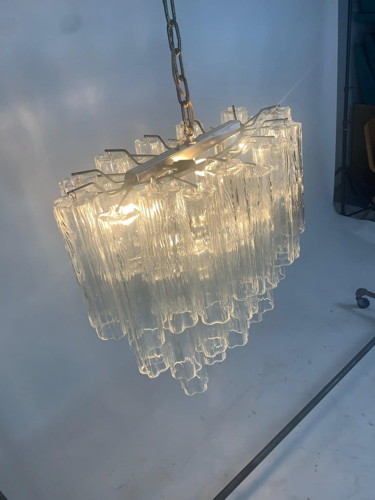 Stunning Oval Italian Venini Murano Glass Tubes Chandelier Light Fixture For Sale 3