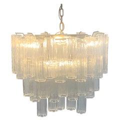 Stunning Oval Italian Venini Murano Glass Tubes Chandelier Light Fixture