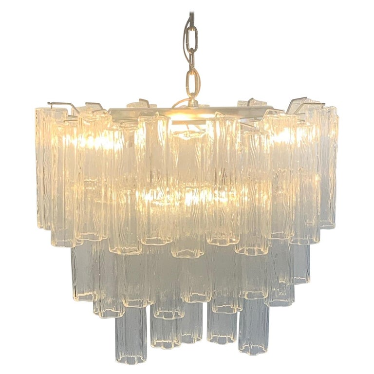 Stunning Oval Italian Venini Murano Glass Tubes Chandelier Light Fixture For Sale