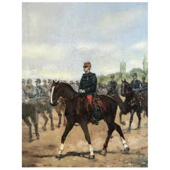 Stunning Painting of Mounted Horsemen by Listed French Artist Pierre Peti Gerard