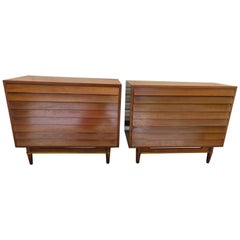 Stunning Pair American of Martinsville Walnut Brass Louvered Bachelors Chests