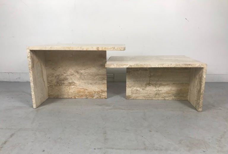 Stunning Pair of Architectural Italian Modernist Travertine Tables 5