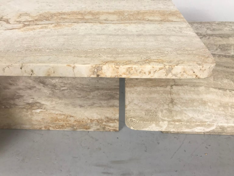 Stunning Pair of Architectural Italian Modernist Travertine Tables 6