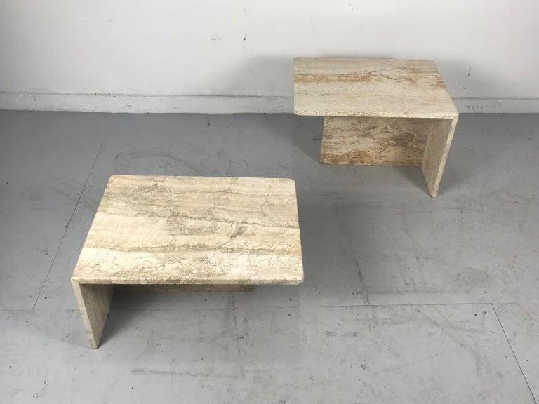 Mid-Century Modern Stunning Pair of Architectural Italian Modernist Travertine Tables