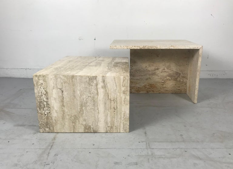 Stunning Pair of Architectural Italian Modernist Travertine Tables In Good Condition In Buffalo, NY