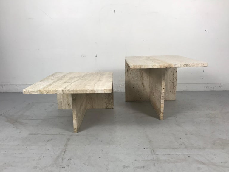 Late 20th Century Stunning Pair of Architectural Italian Modernist Travertine Tables