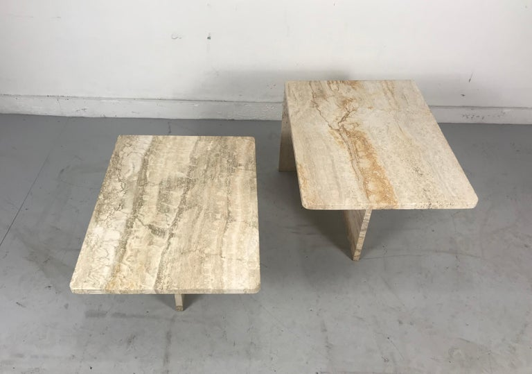 Stunning Pair of Architectural Italian Modernist Travertine Tables 1